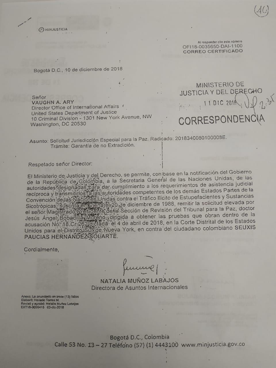 La carta del caso Santrich que debía llegar al Departamento de Justicia de Estados Unidos