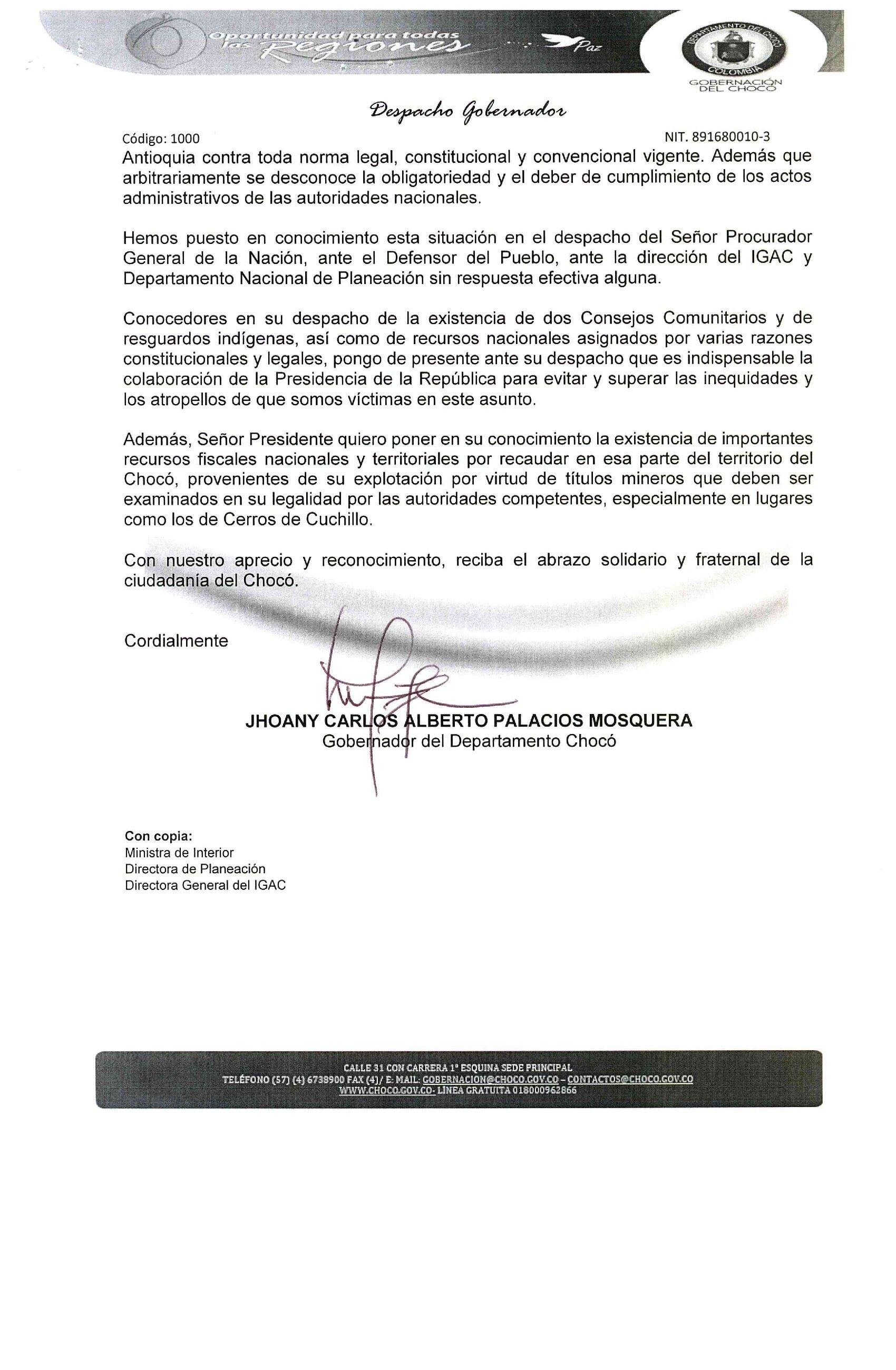 Carta del gobernador de Chocó al presidente Iván Duque.