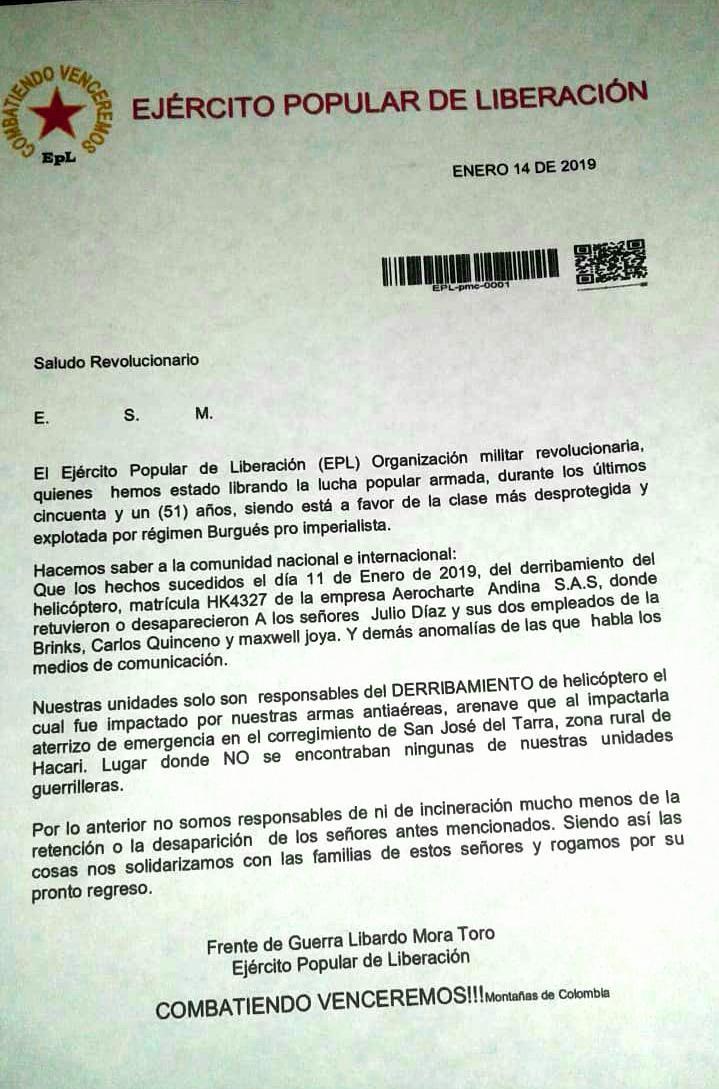 Comunicado del Epl sobre tripulación secuestrados en el Catatumbo