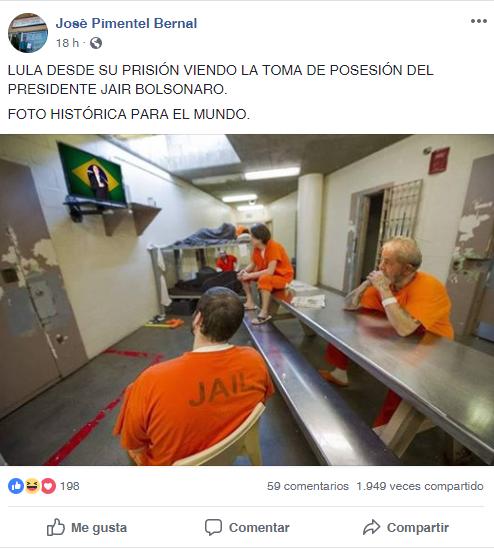 Esta es la imagen de la publicación de Lula supuestamente en prisión.