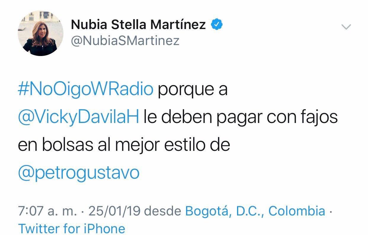 Pantallazo cuenta de Twitter de Nubia Stella Martínez