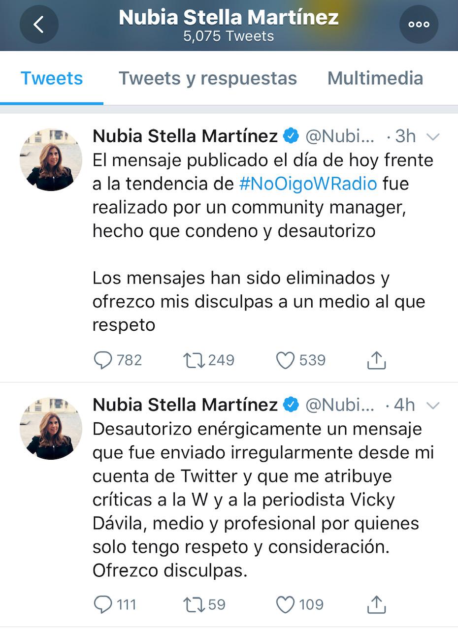 Pantallazo Twitter de Nubia Stella Martínez