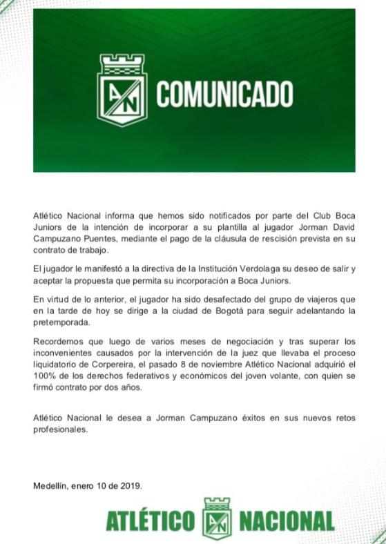 Comunicado Atlético Nacional