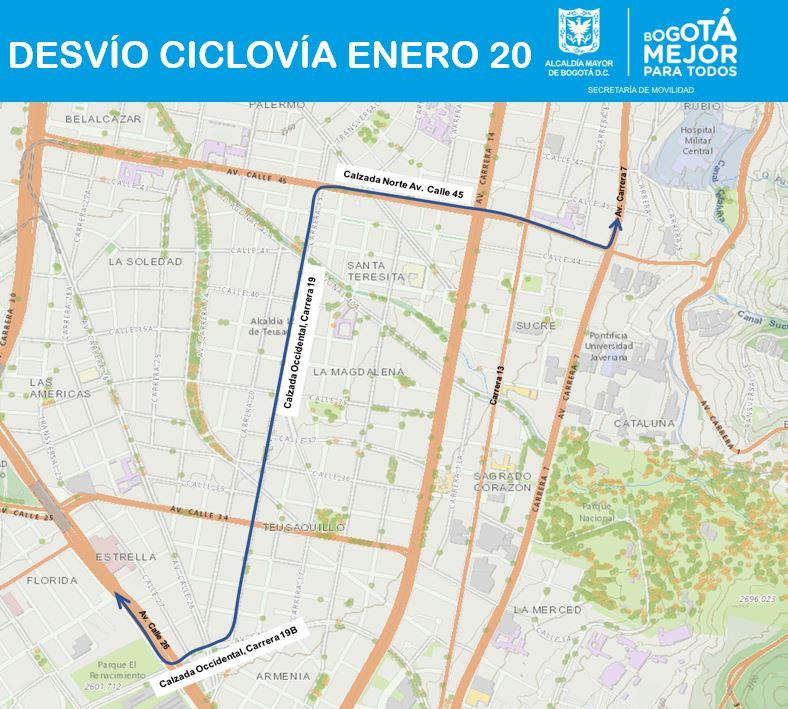 Cierres ciclovía enero 20