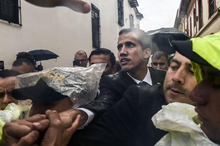 Juan Guaidó, a la salida de la reunión del Grupo de Lima, en Bogotá