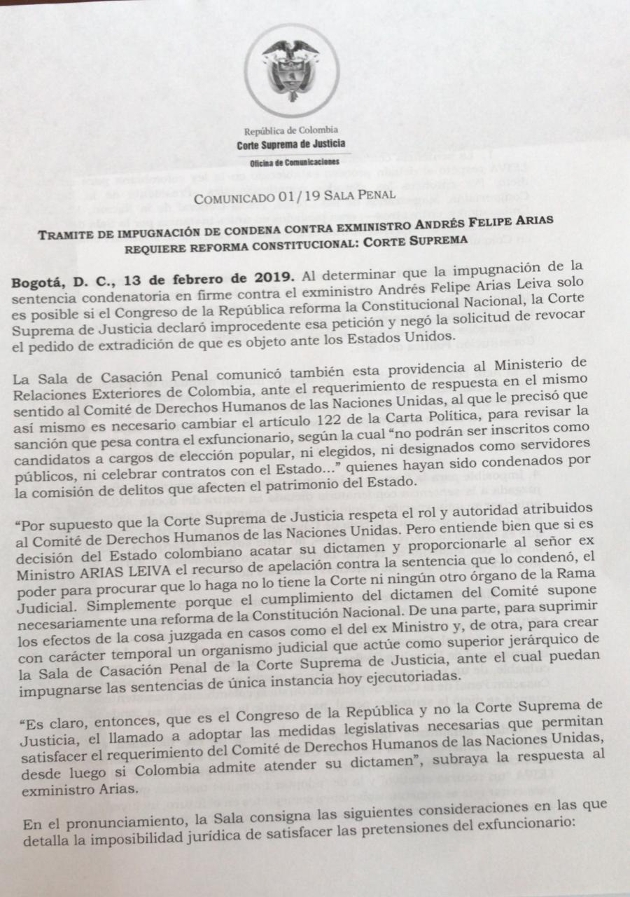COMUNICADO CORTE SUPREMA - ANDRÉS FELIPE ARIAS
