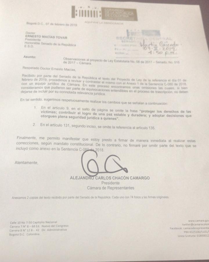 Carta de la Cámara al Senado sobre la JEP