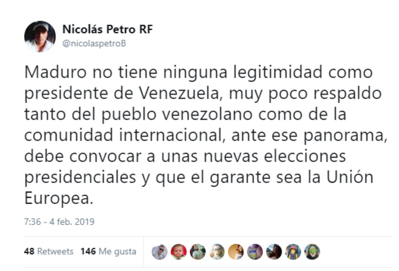 El trino de Nicolás Petro sobre Nicolás Maduro