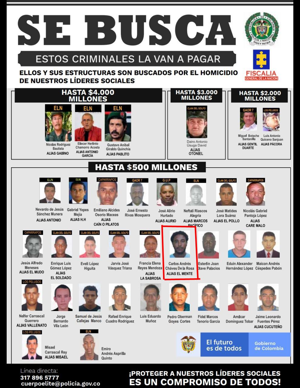En este listado aparece alias El Mente, capturado en Cartagena