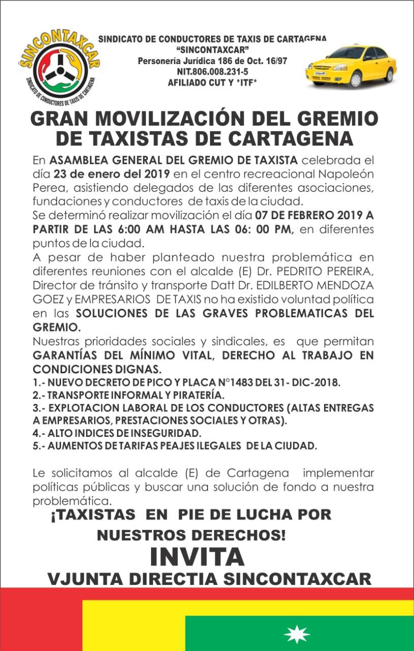 Marcha taxis Cartagena