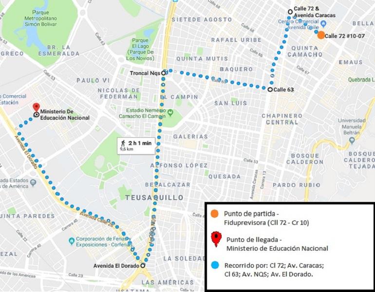 Recorrido de Fecode en Bogotá