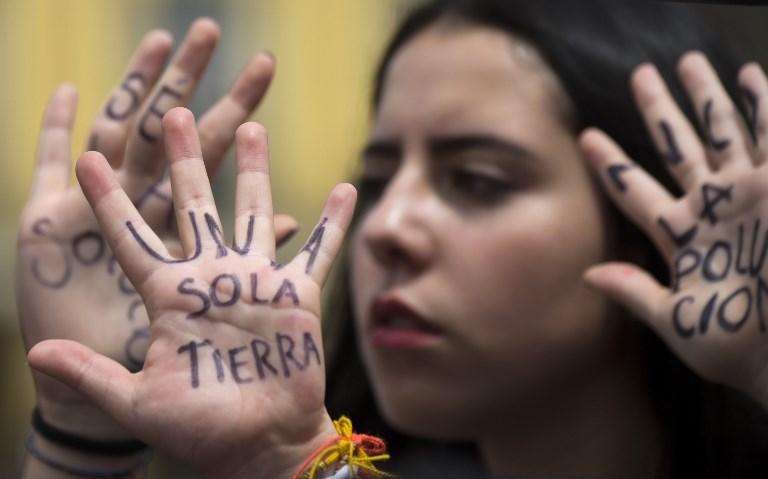 Protestas de jóvenes contra el cambio climático, en Bogotá