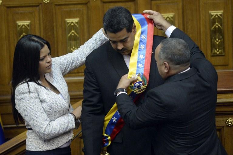 (De izq. a der.) Maria Gabriela Chávez, Nicolás Maduro y Diosdado Cabello