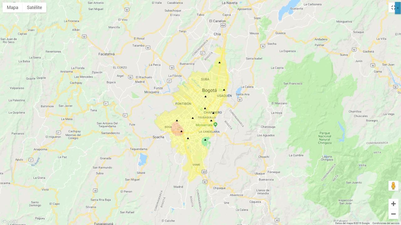 Mapa de calidad del aire en Bogotá