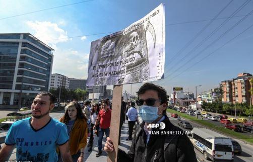 Protesta por la mala calidad del aire en Bogotá