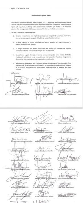 Carta enviada por los árbitros, luego de denuncias de acoso sexual