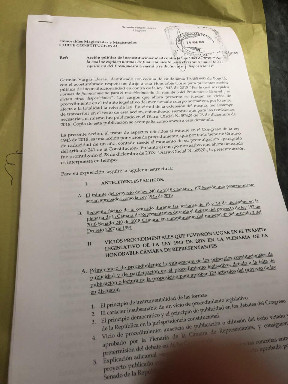 Demanda ley de financiamiento