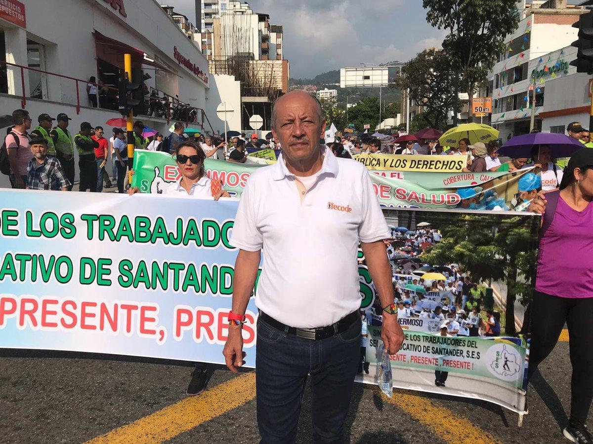 Carlos Rivas, ejecutivo de Fecode, durante un paro de maestros