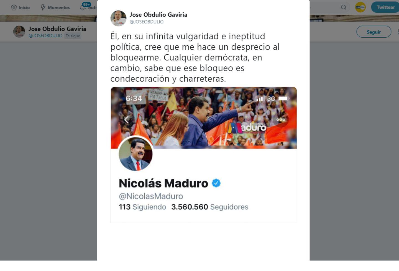 José Obdulio Gaviria dijo que fue bloqueado en Twitter por Nicolás Maduro.