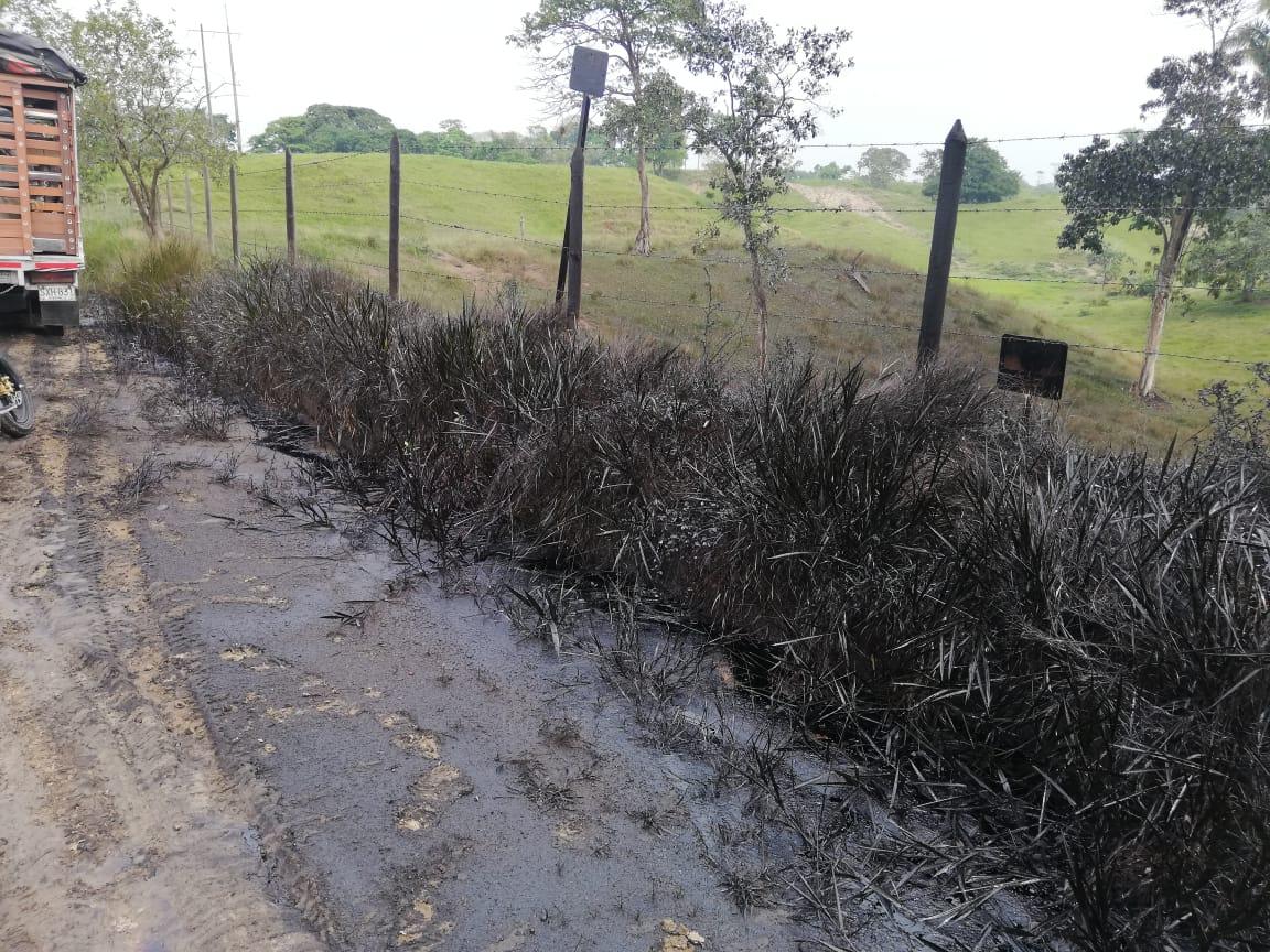 El crudo se esparció tras el derrame sin embargo, no afectó a las fuentes hídricas de Puerto Boyacá