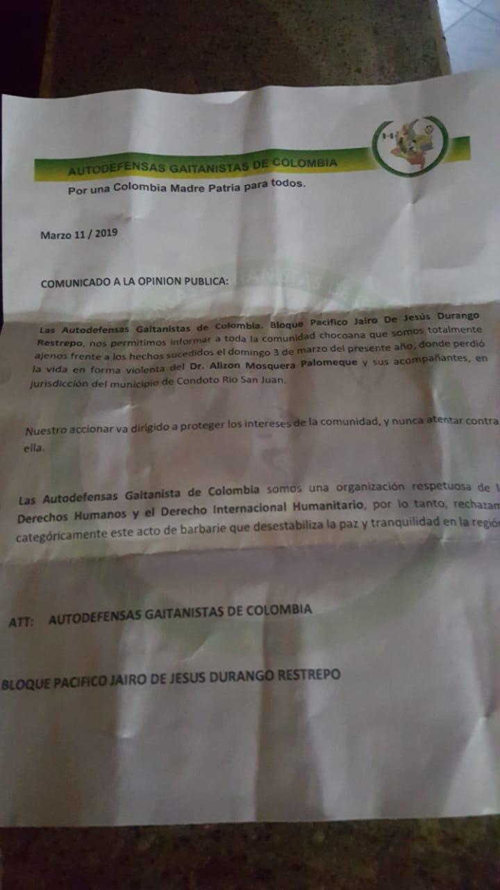 Clan del Golfo niega responsabilidad en asesinato del Diputado de Chocó