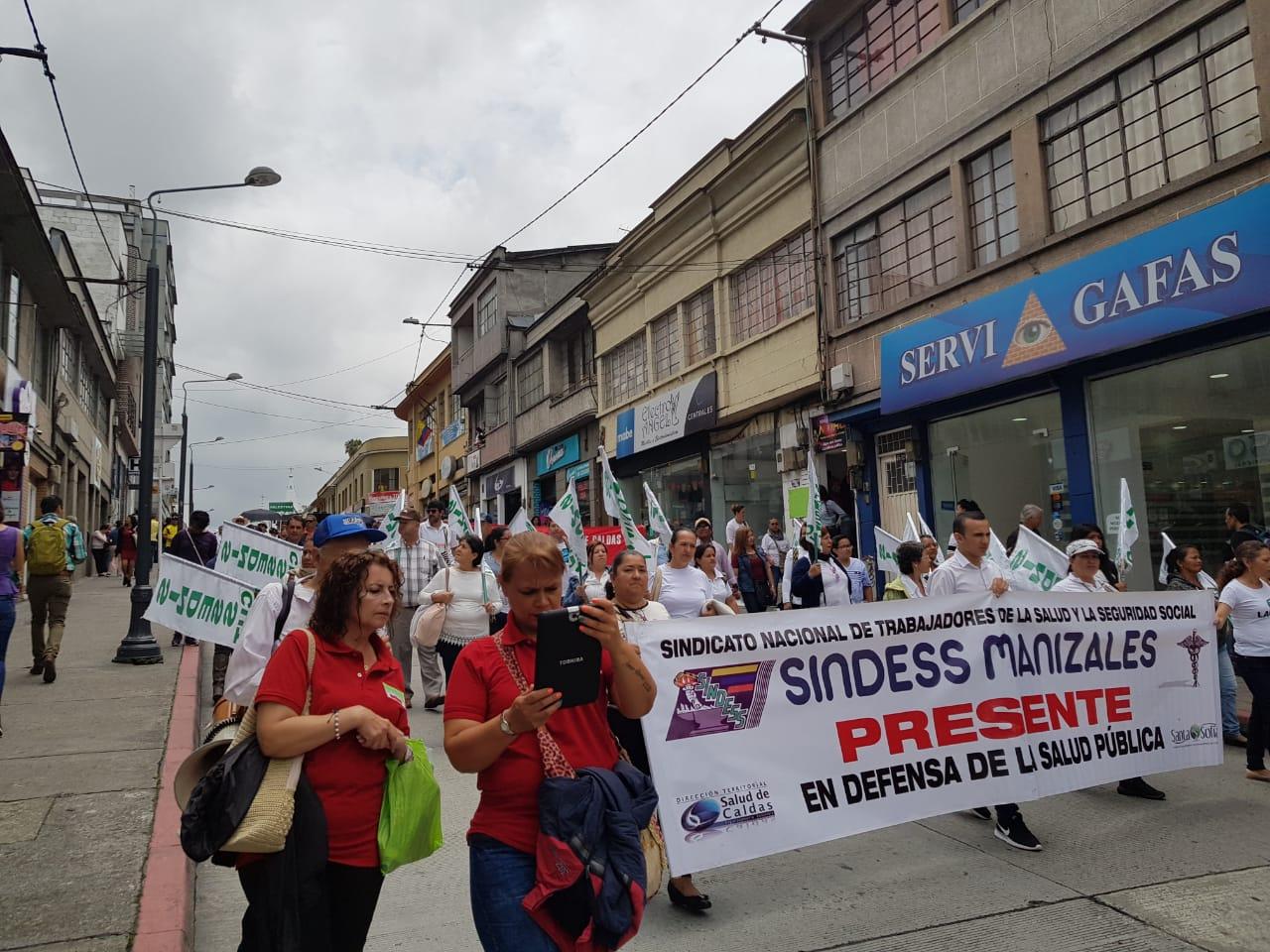 Protestas de profesores en Manizales.