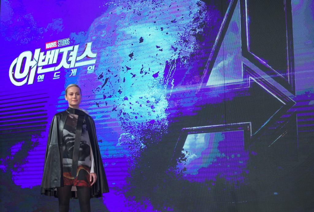 Brie Larson en un evento de Avengers: Endgame en Seúl (Corea del Sur)