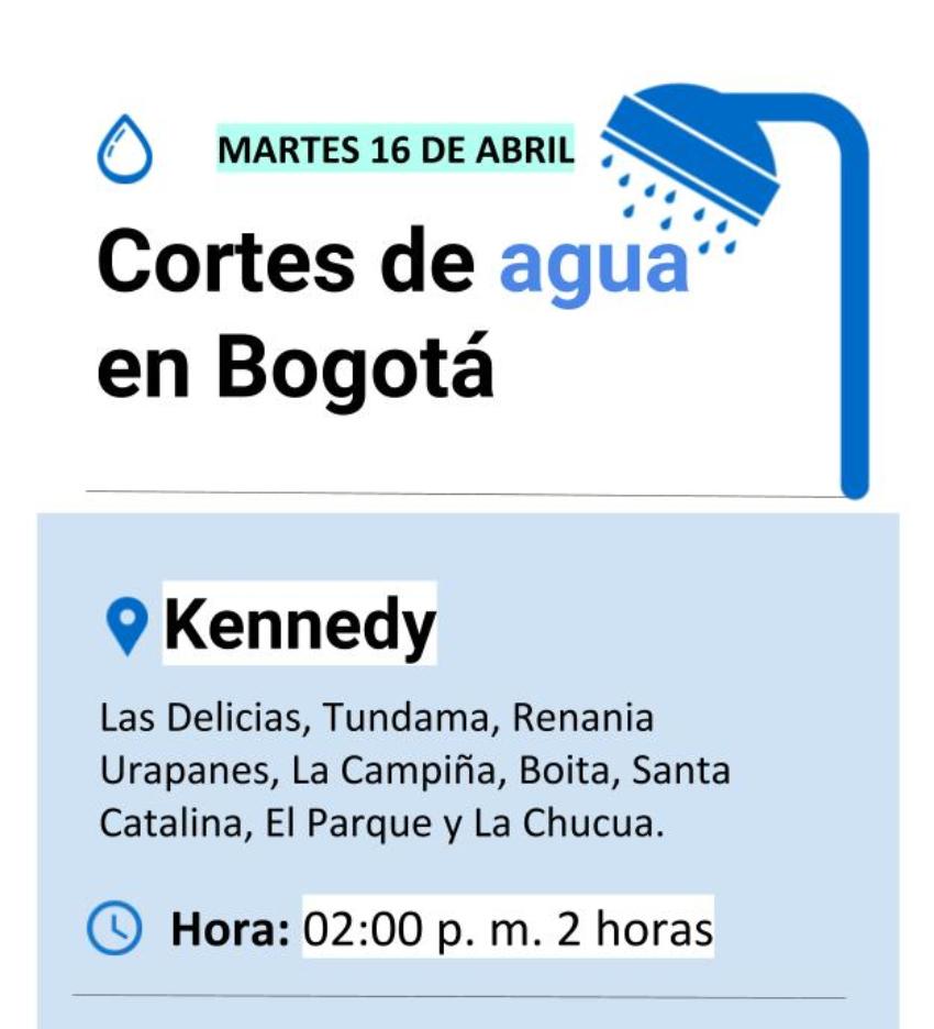 Cortes de agua en Bogotá martes 16 de abril