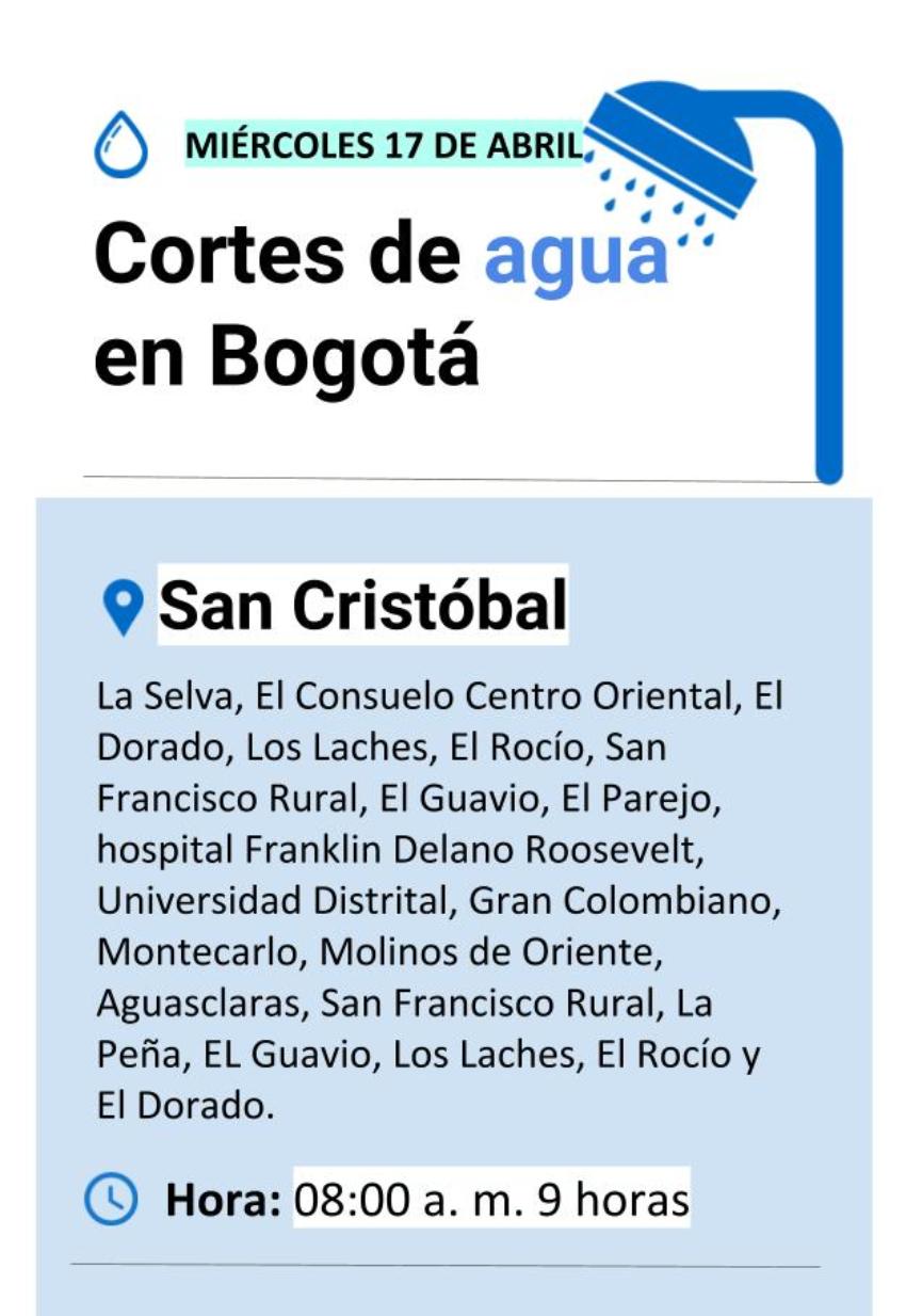 Cortes de agua en Bogotá miércoles 17 de abril
