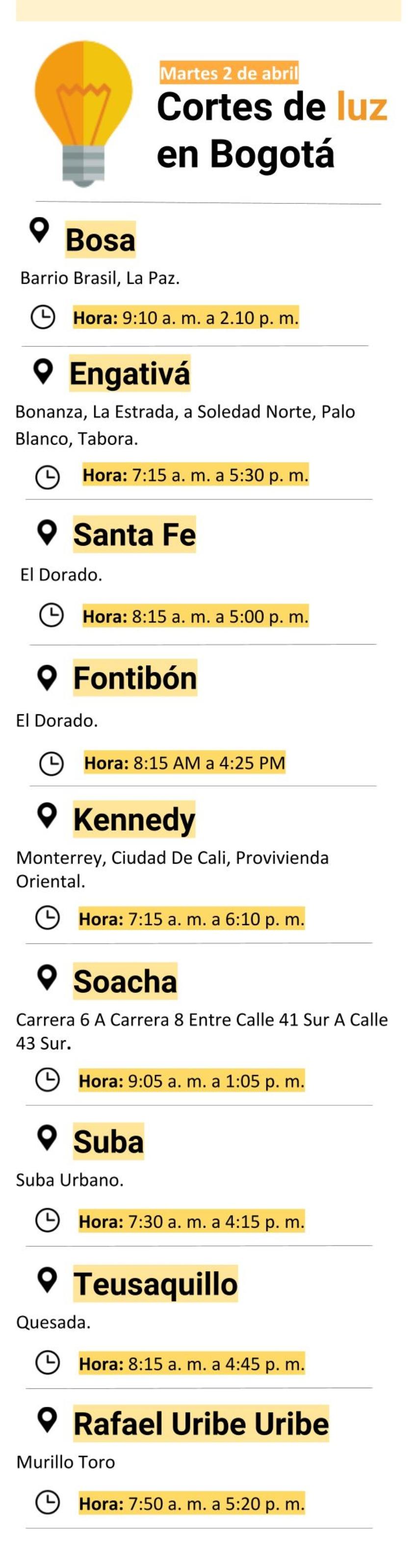 Cortes de luz en Bogotá martes 2 de abril