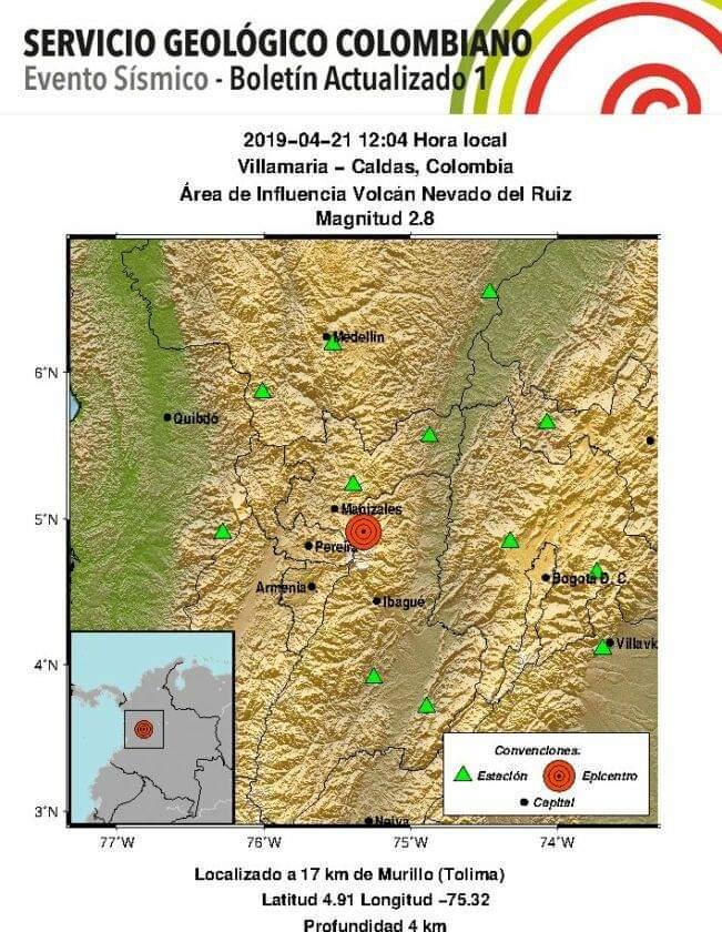 El sismo sólo se sintió en la zona de afluencia de la montaña volcánica.