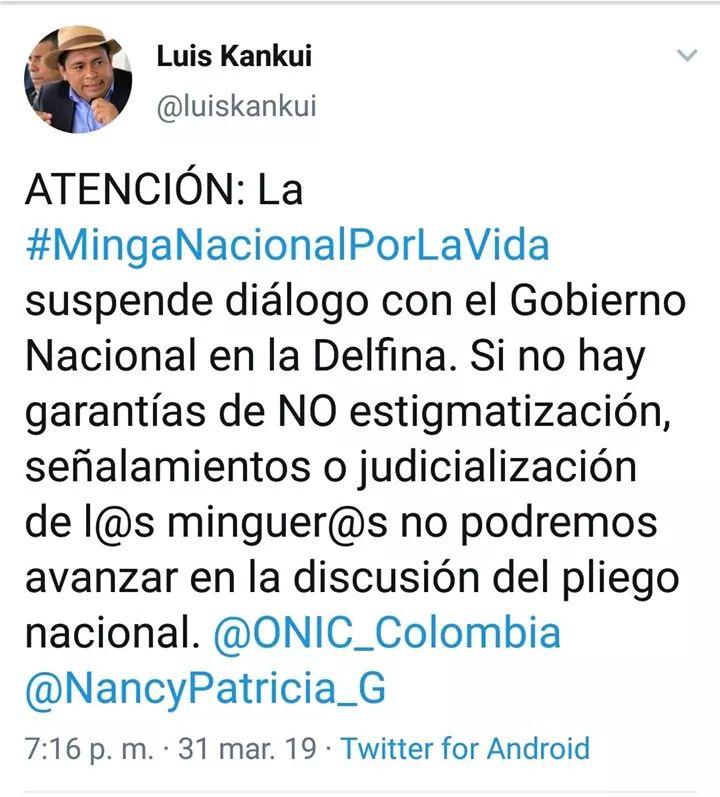 Suspendidos los diálogos en el sector de la Delfina, Buenaventura entre Minga Nacional Indígena y el Gobierno Nacional