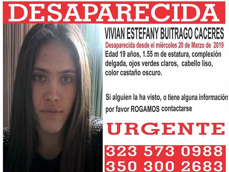 Vivian Buitrago. Cartel de desaparecida