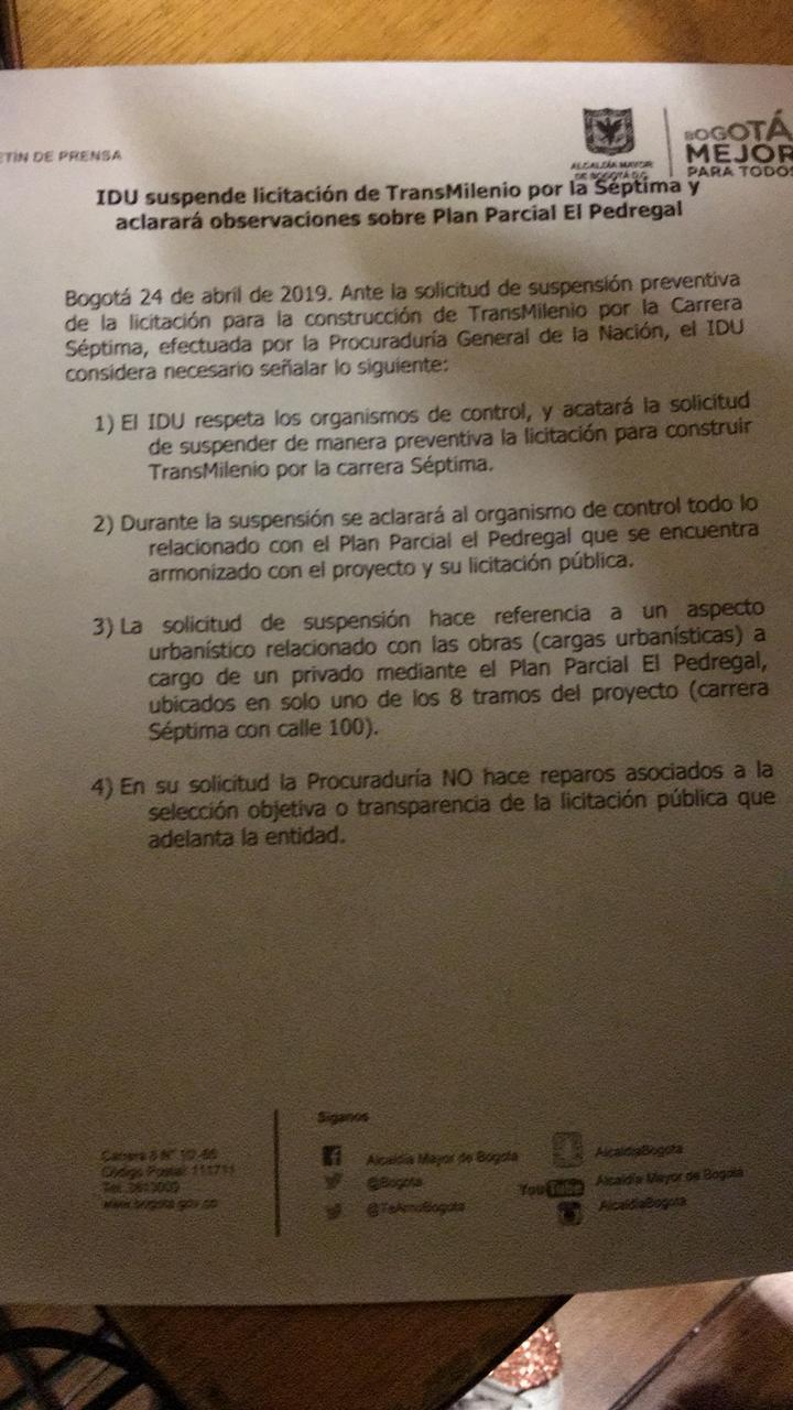 IDU suspende licitación del TM por la Séptima