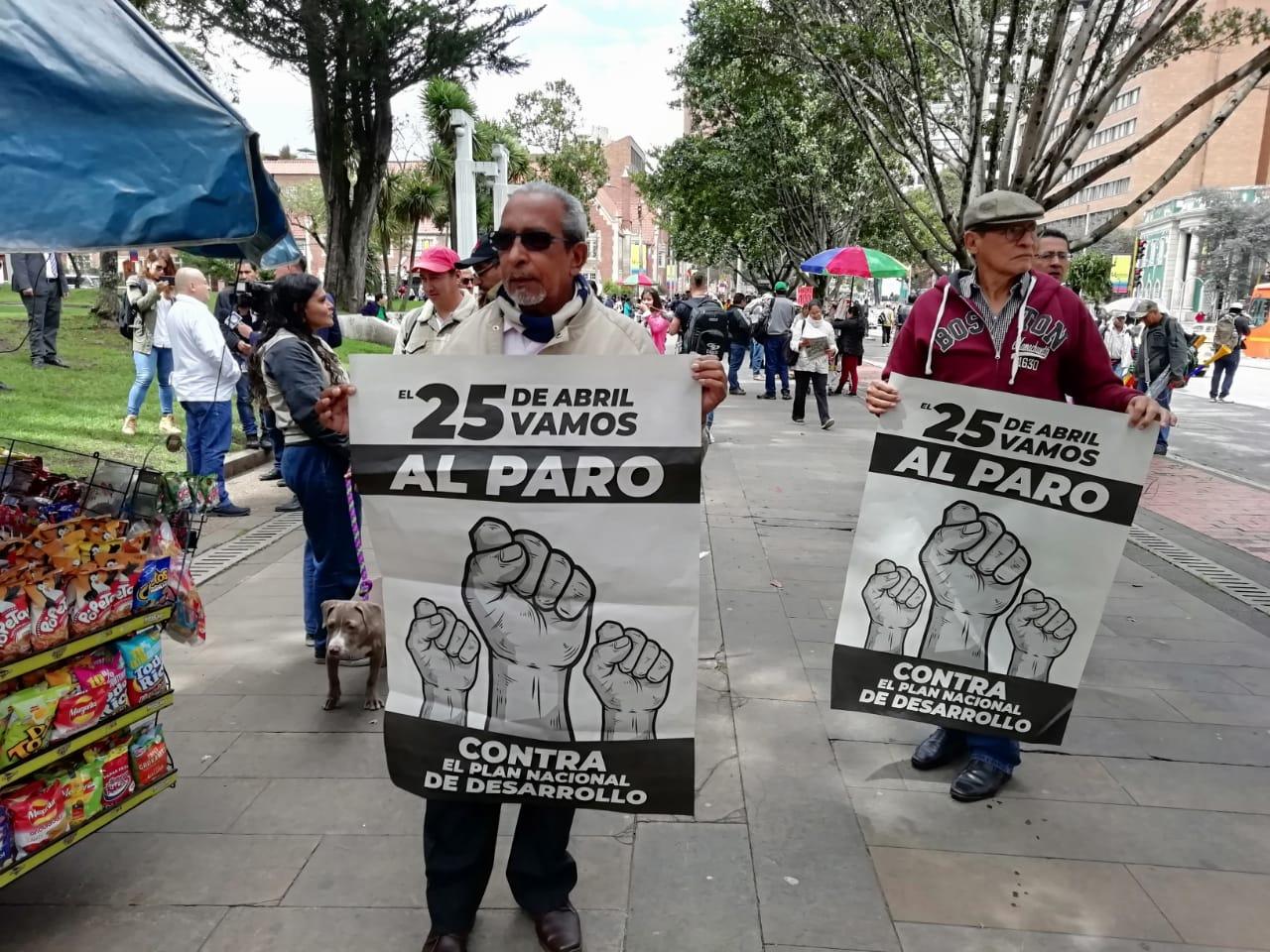 Manifestantes del paro nacional, en Bogotá