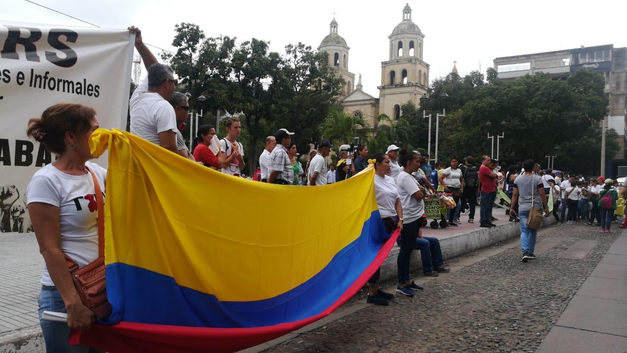 Manifestantes del paro nacional en la ciudad de Cúcuta