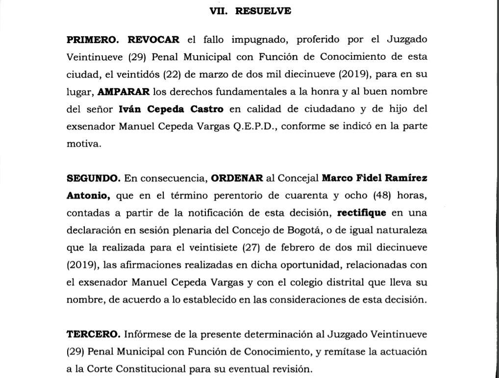 FALLO EN EL CASO DE MANUEL CEPEDA VARGAS