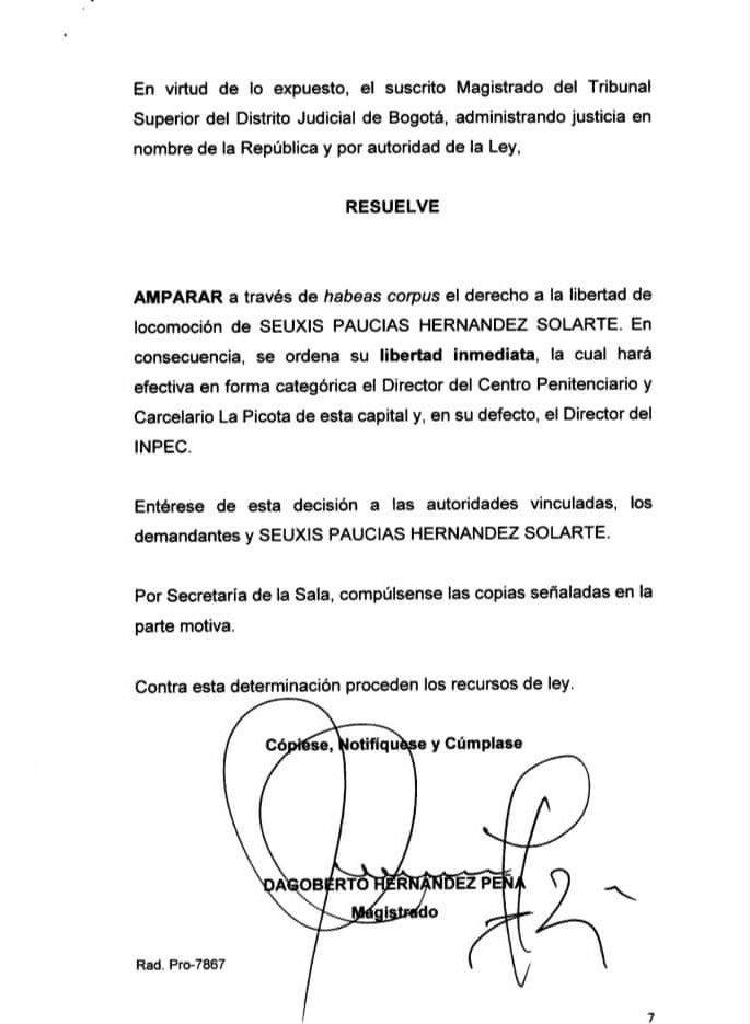 TRIBUNAL ORDENA LIBERTAD DE SANTRICH