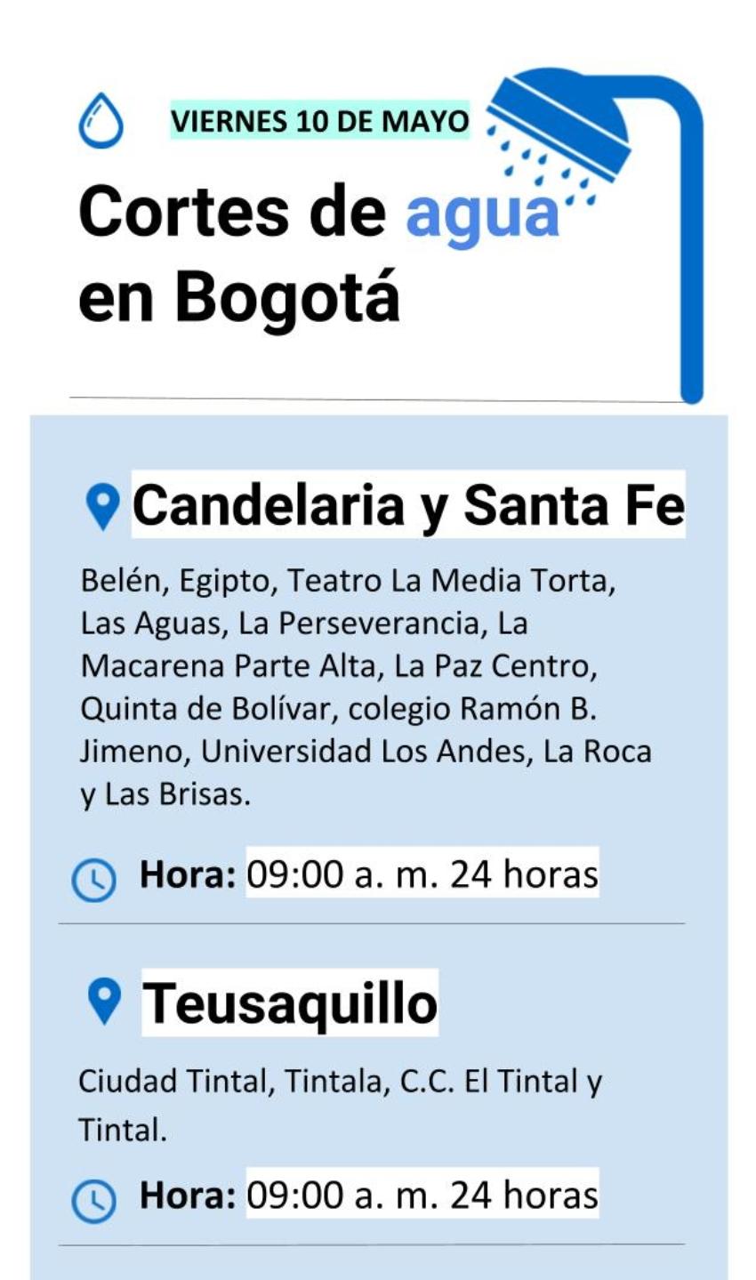 Cortes de agua en Bogotá viernes 10 de mayo