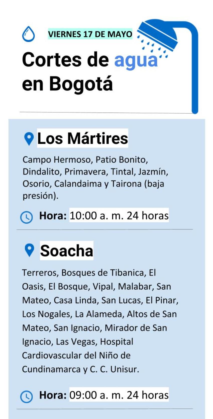 Cortes de agua en Bogotá viernes 17 de mayo