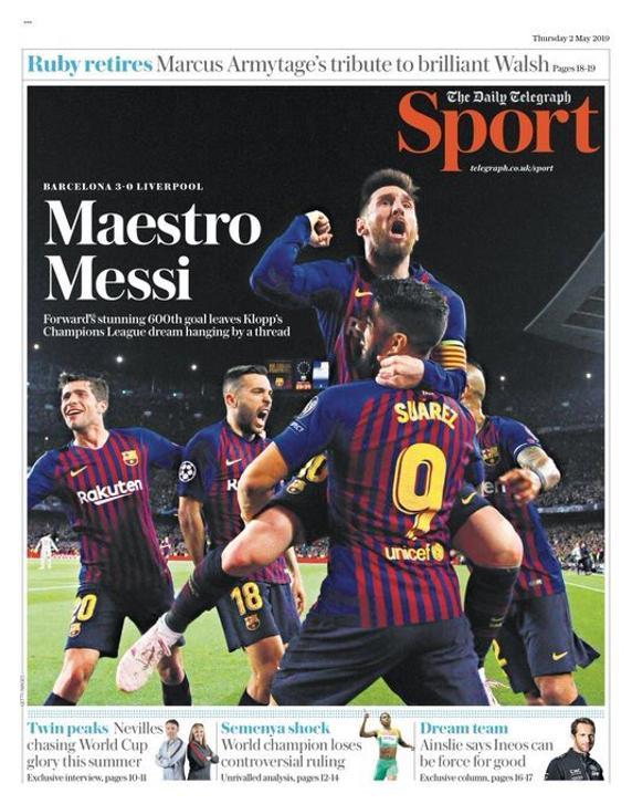 El Daily Telegraph con Messi en portada.