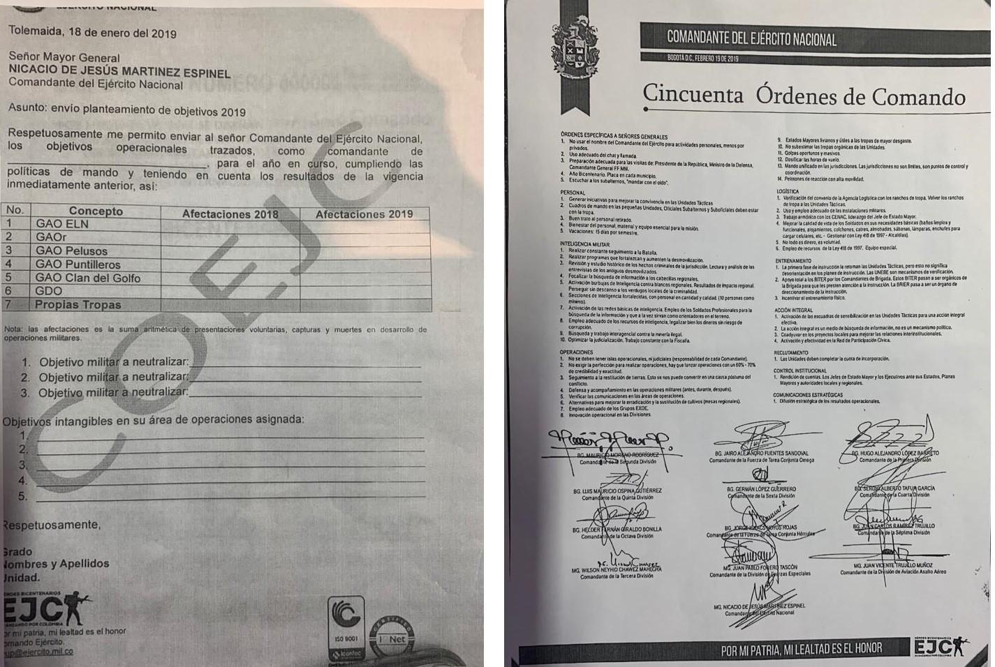 Documentos que serán modificados por el Ejército