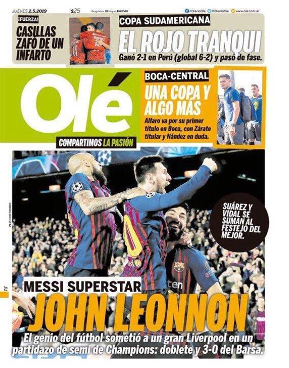 El diario Olé con Messi en portada.