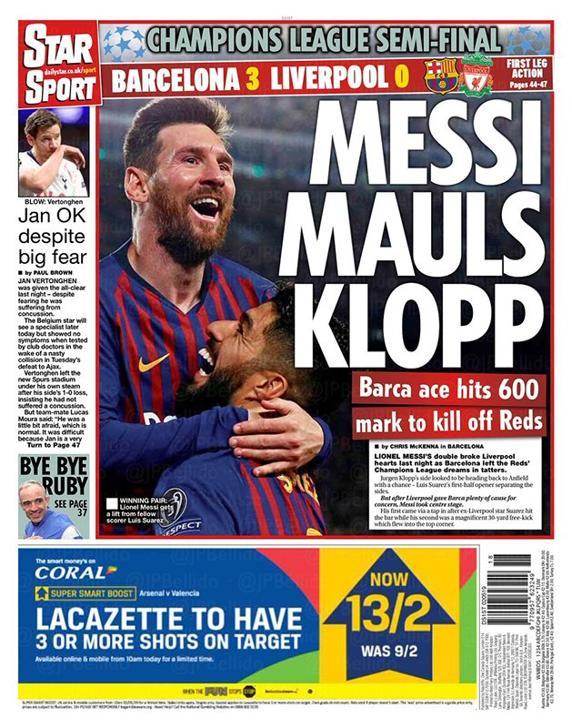 El diario The Sun con Messi en portada.