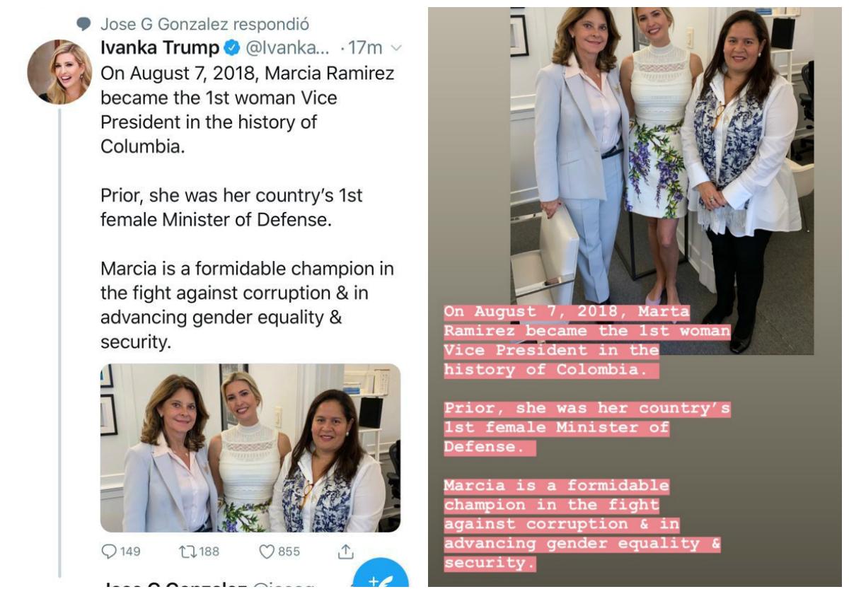 Twitter e Instagra de Ivanka Trump
