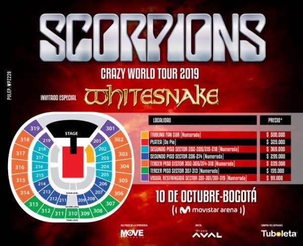 Boletería Scorpions y Whitesnake 2019 en Colombia (Movistar Arena de Bogotá)