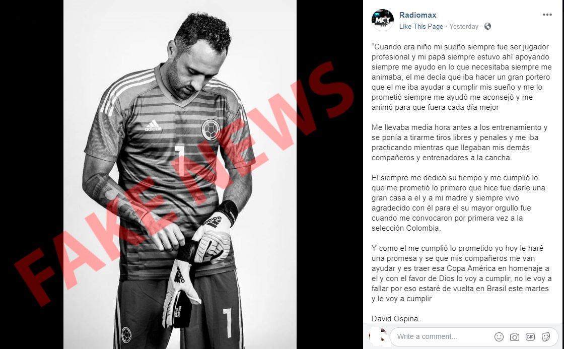 Carta Fake David Ospina