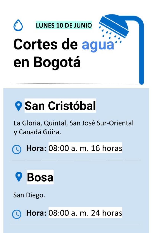 Cortes de agua en Bogotá lunes 10 de junio