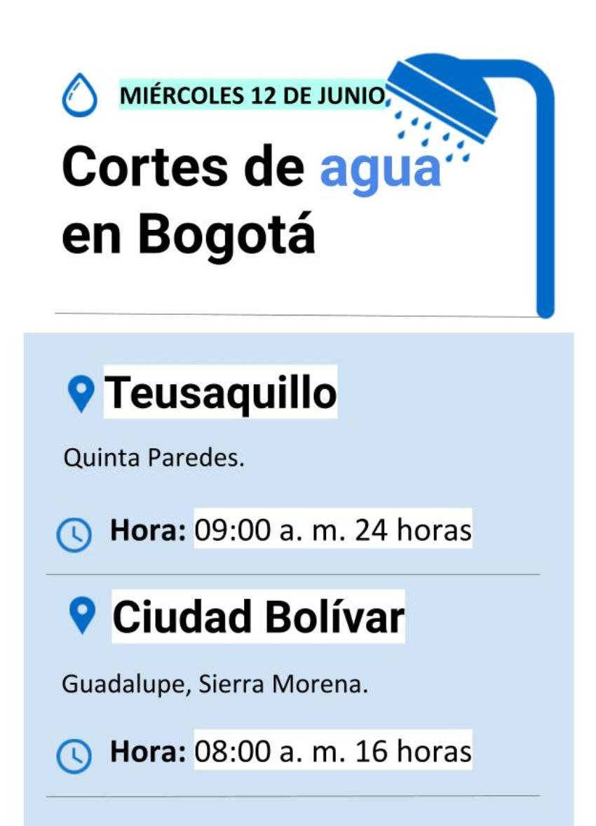 Cortes de agua en Bogotá miércoles 12 de junio