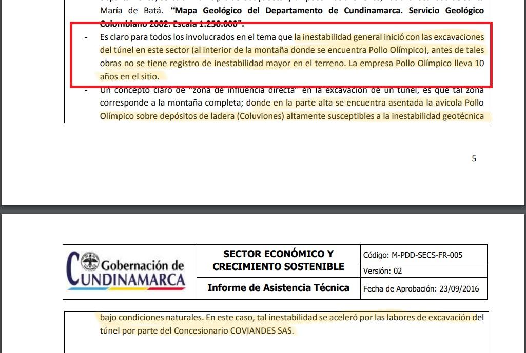 Apartes del Informe Técnico Gobernación de Cundinamarca